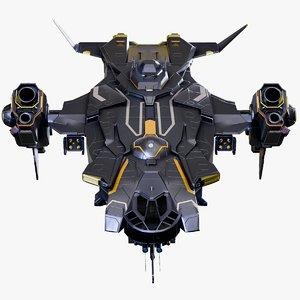 3D gunship spaceship rigged battlecruiser