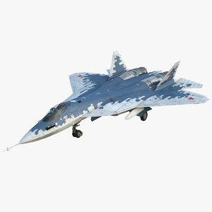 su 57 stealth jet fighter 3D