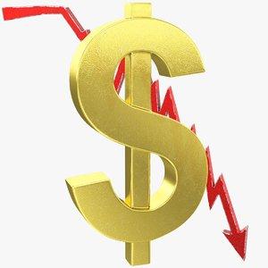 3D model graph dollar symbol