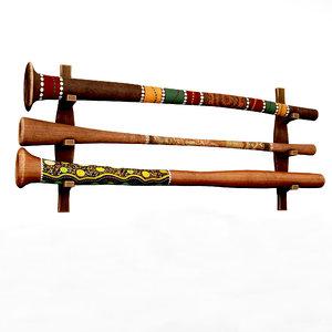 trumpet wooden didjeridoo 3D model
