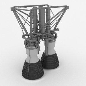 3D lr-87 rocket engine titan