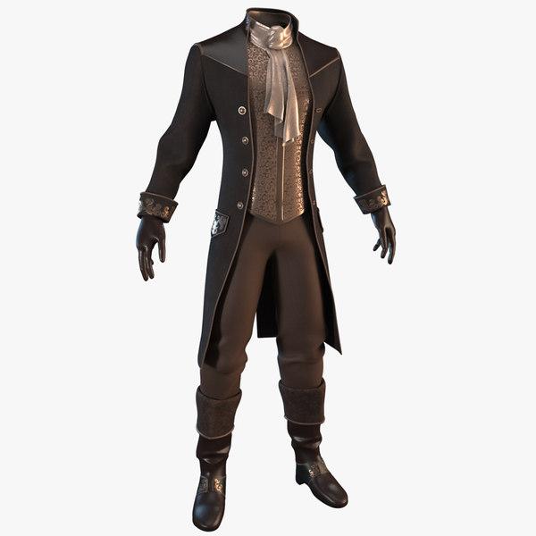 vintage clothing men suit 3D