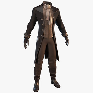 vintage clothing men suit 3D