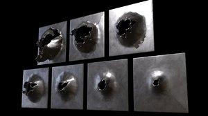 3D bullet holes metal model