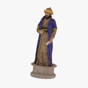 chess piece bishop black 3D model