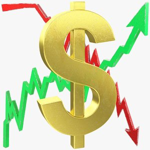 graphs dollar symbol 3D model