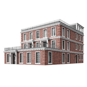 3D model colonial multiplex building house