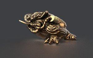 3D temple money frog model