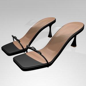 stylish clear strap square-toe 3D