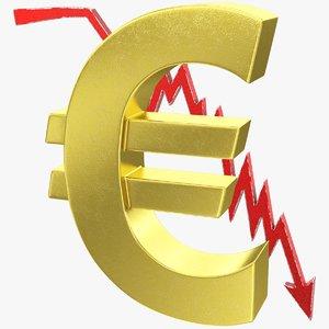 graph euro symbol 3D model