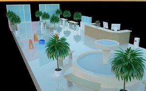isometric shopping mall lobby 3D model
