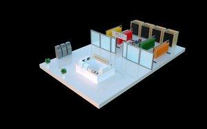 3D isometric shopping mall floor model