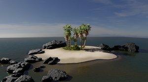3D island scene palm