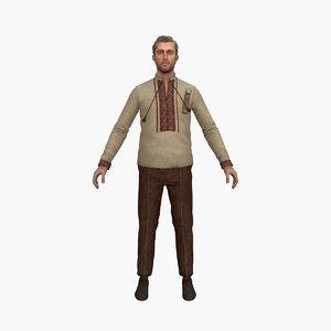3D ukrainian man rigged model
