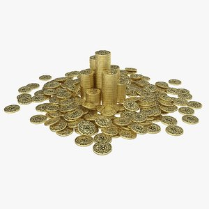 3D pirate coin pile