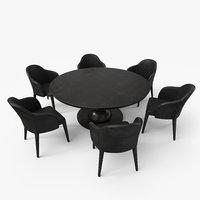 Fendi Dining Table Chair Set - Black Damaged - PBR