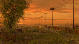 road sunset swing 3D