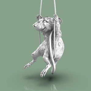3D rat pendant