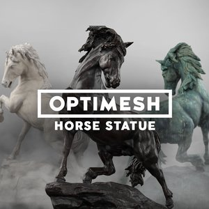 low-poly horse statue model