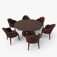 Fendi Dining Table Chair Set - Walnut Damaged - PBR