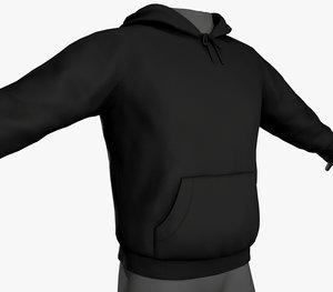 3D black winter hoodie