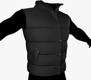 black puffer vest 3D model