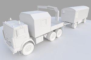3D russian truck kamaz manipulator