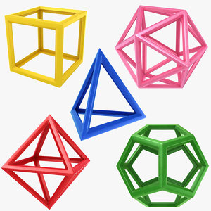 3D dodecahedron octahedron icosahedron model