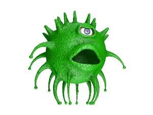one-eyed coronavirus 3D model