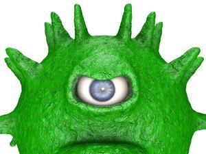 3D model one-eyed coronavirus