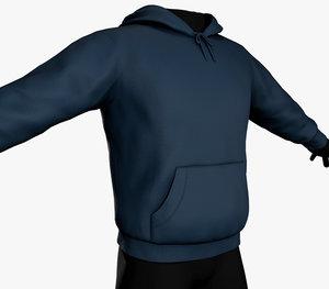 blue winter hoodie model
