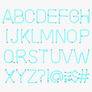 neon letter alphabet light 3D model
