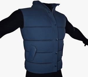 blue puffer vest 3D model