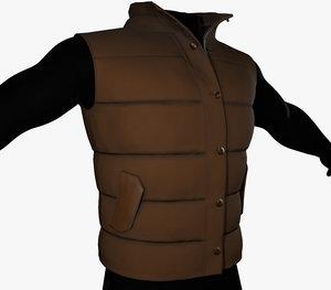 brown puffer vest 3D model