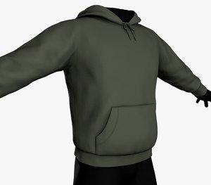3D green winter hoodie model
