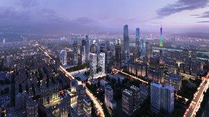 3D model guangzhou city office building