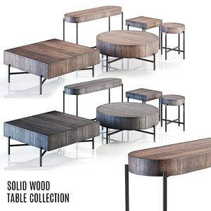 rustic solid tables - 3D model