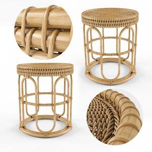 3D aloki table rattan bamboo