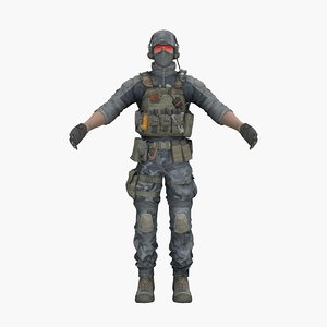 3D model warrior engineer human