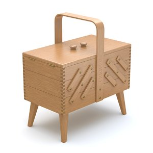 3D sewing box rigged model