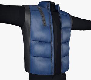 3D black blue puffer vest