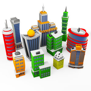 pack cartoon skyscrapers 3D model
