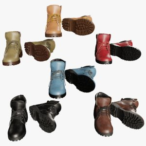 leather boots 3D
