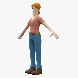 3D woman casual toon character