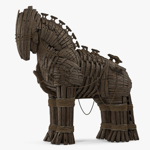 3D wooden trojan horse model