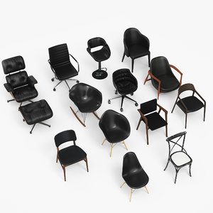 3D model black chair eames -