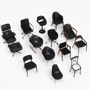 3D model black chair eames -