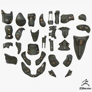 3D mech kitbash parts -