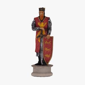 chess piece king black 3D model