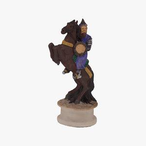 3D chess piece knight black